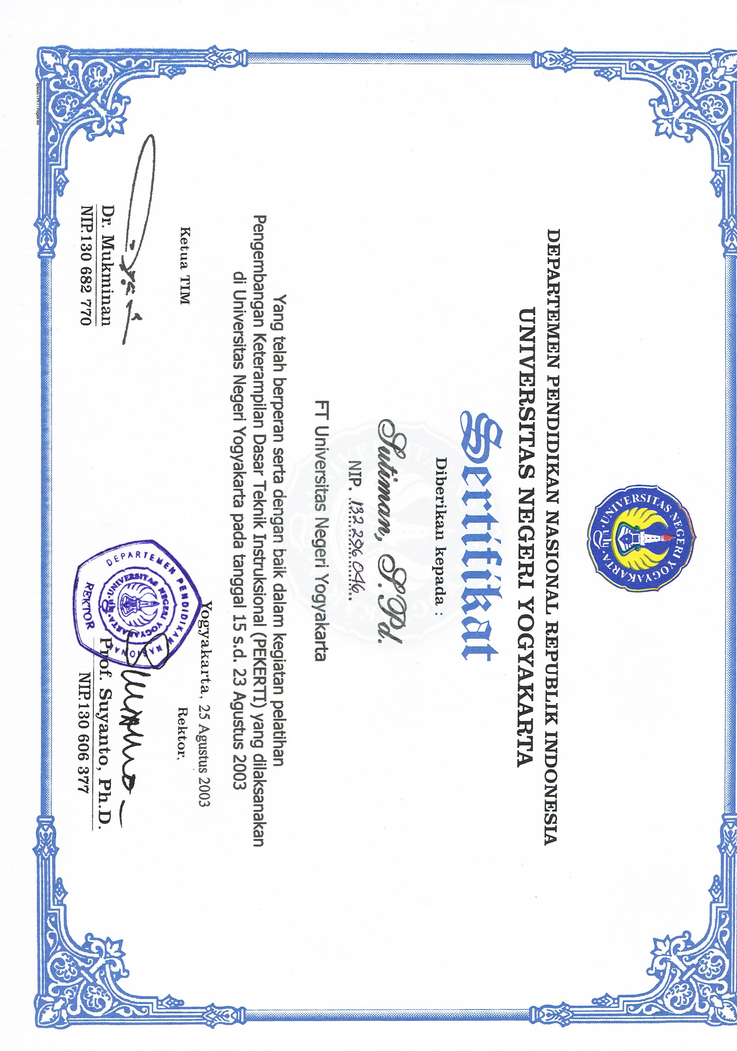 Sertifikat Peserta Pelatihan Pengembangan Keterampilan Dasar Teknik