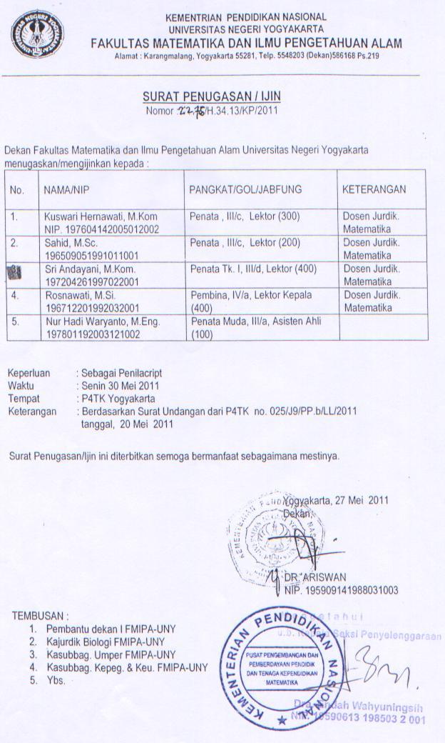 surat tugas wokshop penilai script 2011
